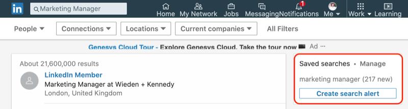 LinkedIn Saved Searches box