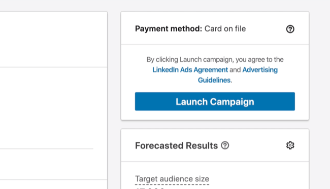 Launch Campaign option in LinkedIn Campaign Manager