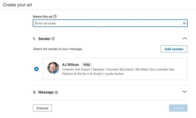 select sender for LinkedIn message ad