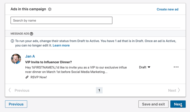 Adds in This Campaign screen in LinkedIn Campaign Manager