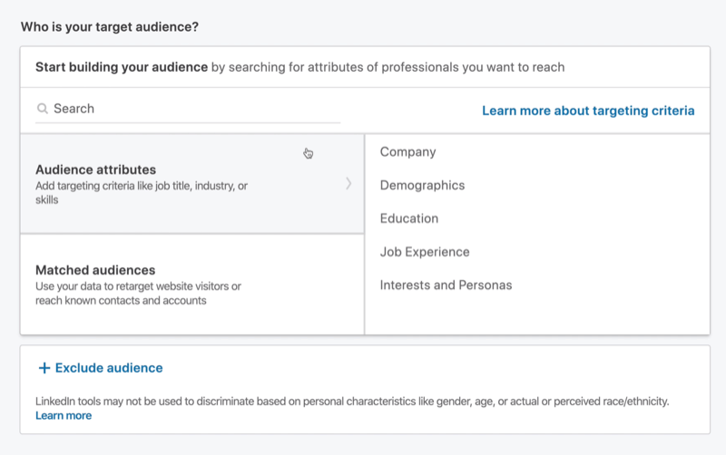 Who Is Your Target Audience? section in LinkedIn Campaign Manager