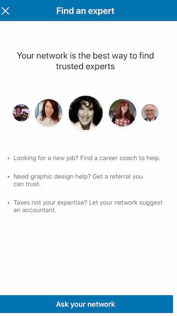 LinkedIn Find an Expert option