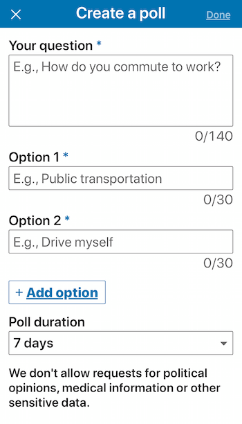 create poll in LinkedIn mobile app