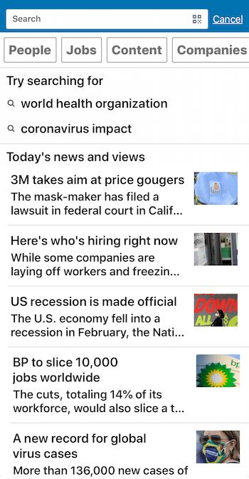 news on LinkedIn mobile app