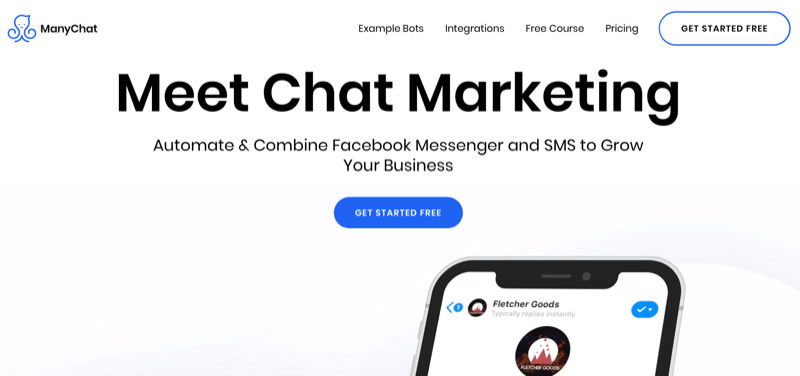 home page for ManyChat
