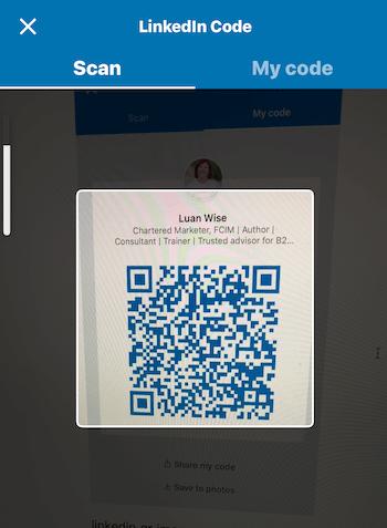 Code screen on LinkedIn mobile app
