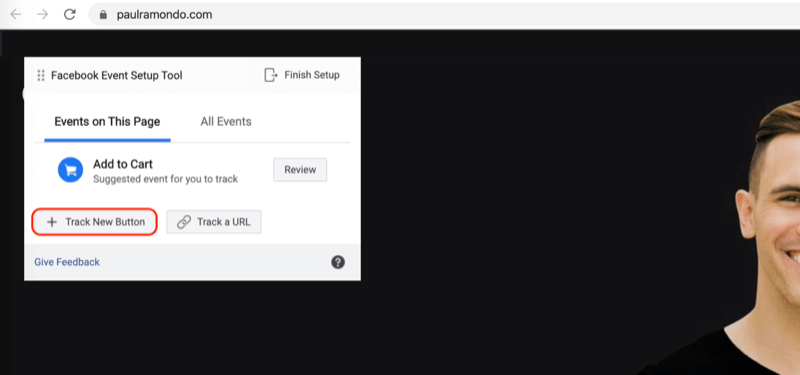 Track New Button option in Facebook Event Setup Tool