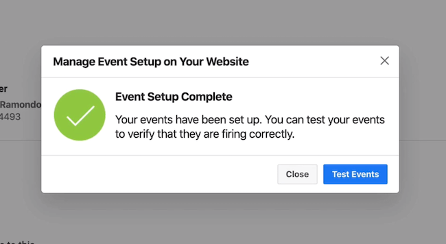 Test Events button in Facebook Events Manager