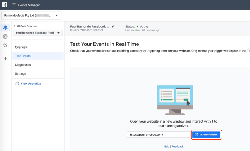 Open Website button in Facebook Events Manager