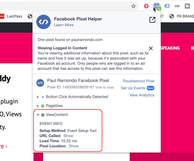 Facebook Pixel Helper showing Page View and View Content events