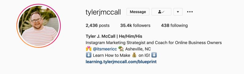 Tyler J. McCall Instagram bio