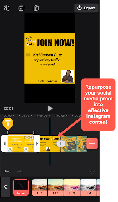 create video in Videoleap with repurposed social proof