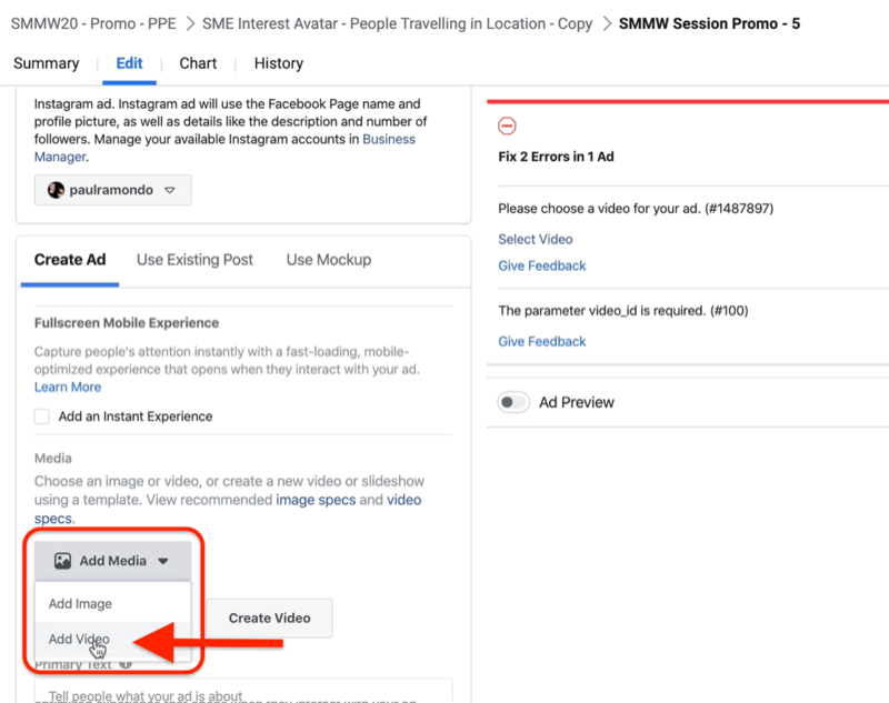 Add Video option in Facebook Ads Manager
