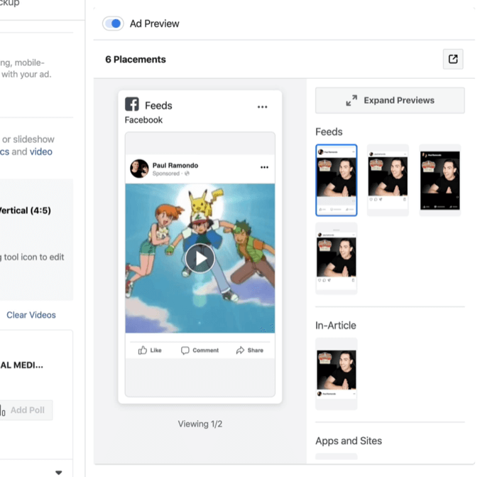 ad previews for multiple Facebook and Instagram ad placements