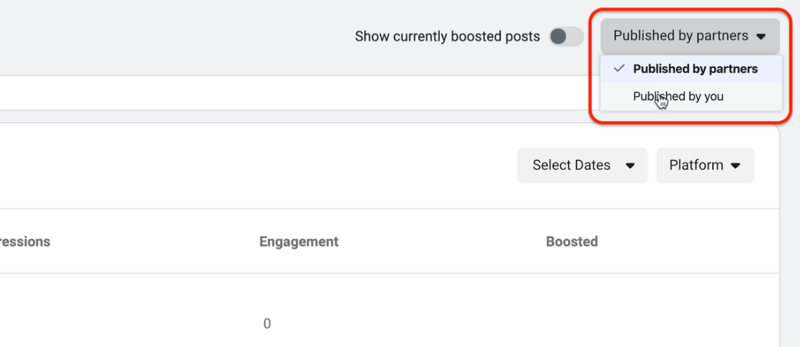 view insights for content published by you in Brand Collabs Manager