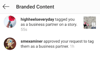 view Instagram branded content notification