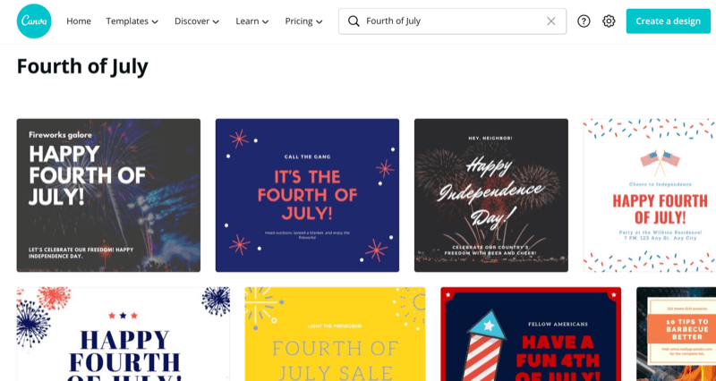 Canva search for Fourth of July templates