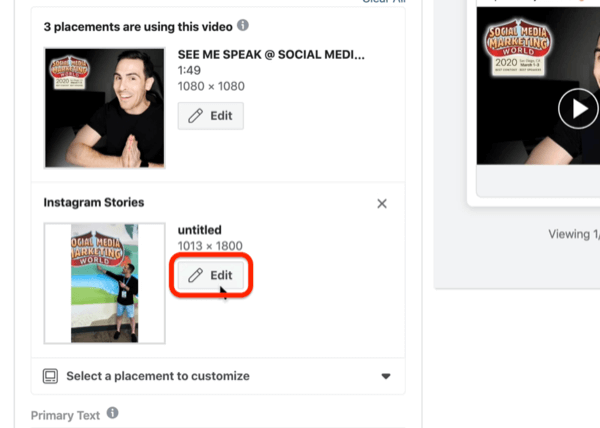 edit Instagram Stories placement in Facebook Ads Manager