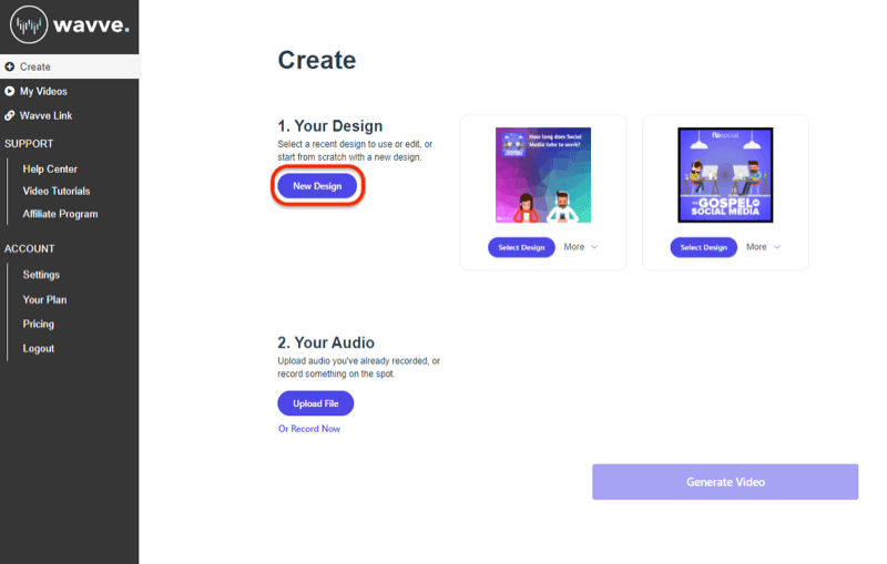create new design in Wavve