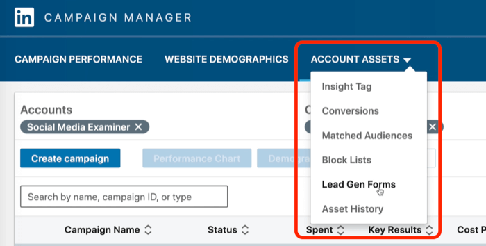 screenshot of Lead Gen Forms selected in LinkedIn Campaign Manager
