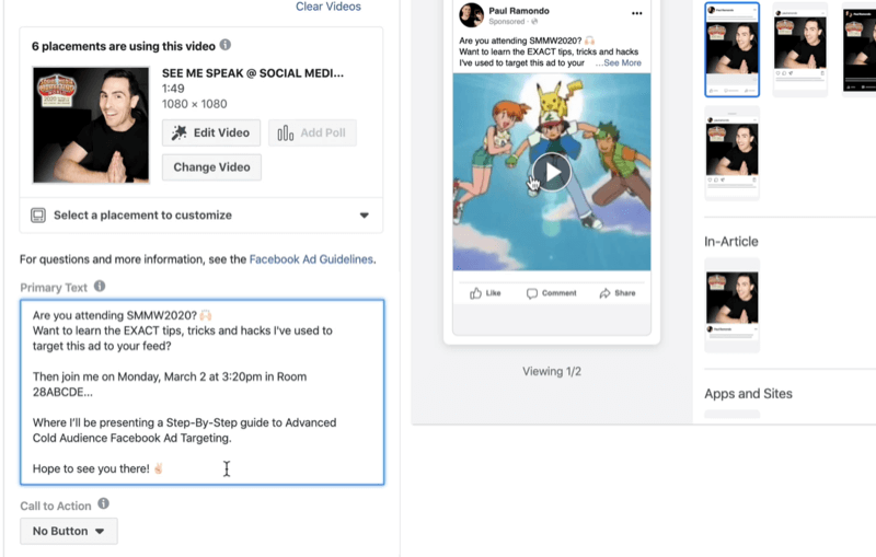 add primary text for Facebook video ad