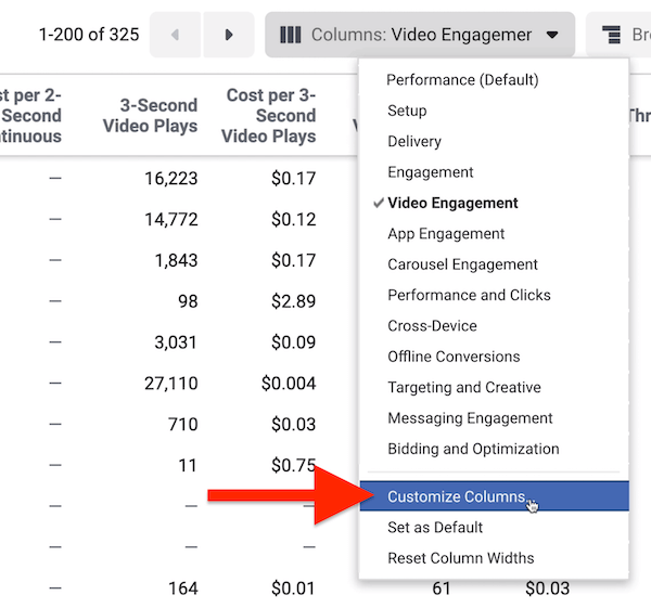 Customize Columns option in Facebook Ads Manager