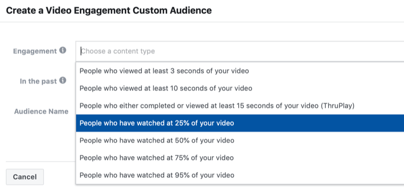 dialog box to create a Facebook video engagement custom audience
