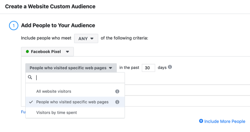 dialog box to create a Facebook website visitor custom audience