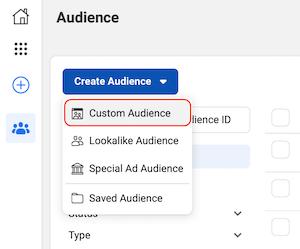 Custom Audience option in Facebook Audiences dashboard