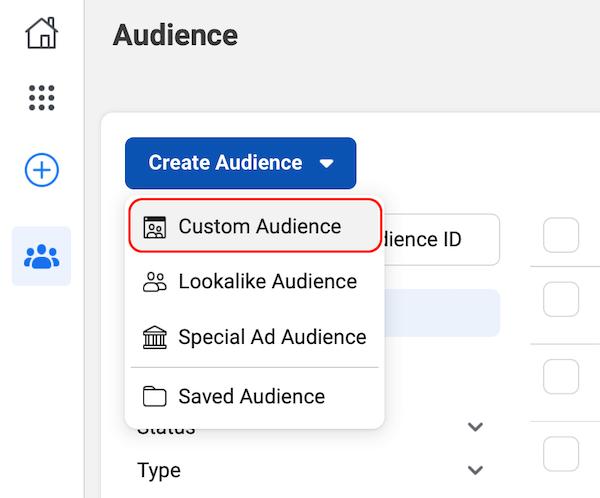 """Facebook Audiences仪表板中的""""自定义受众""""选项"""