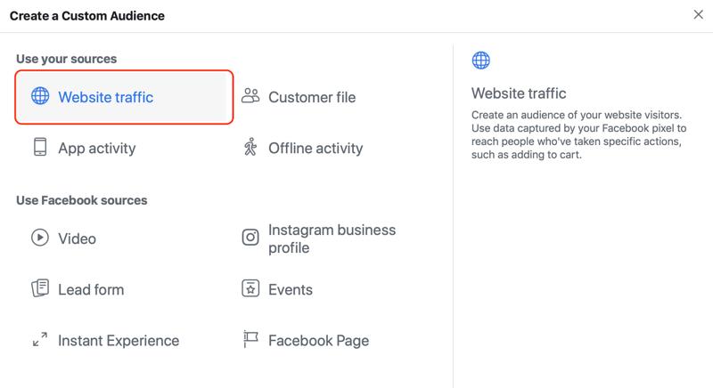 Website Traffic selected as custom audience source