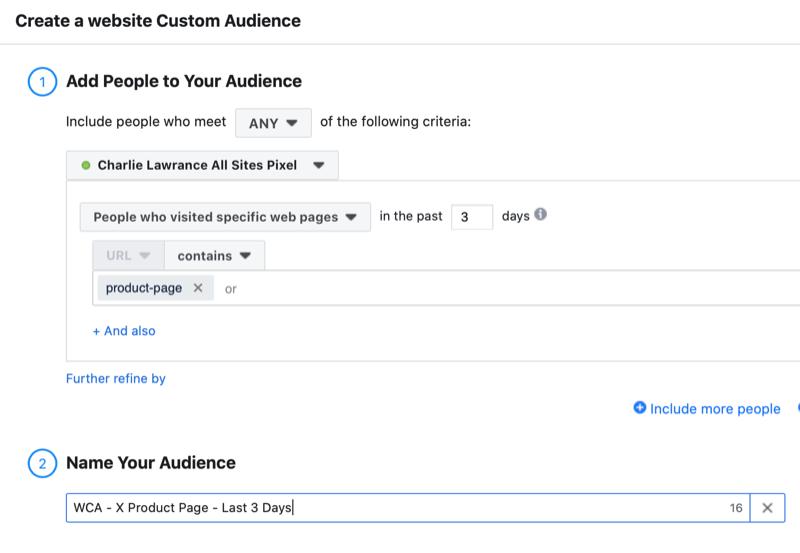 Facebook website custom audience setup for reminder ad