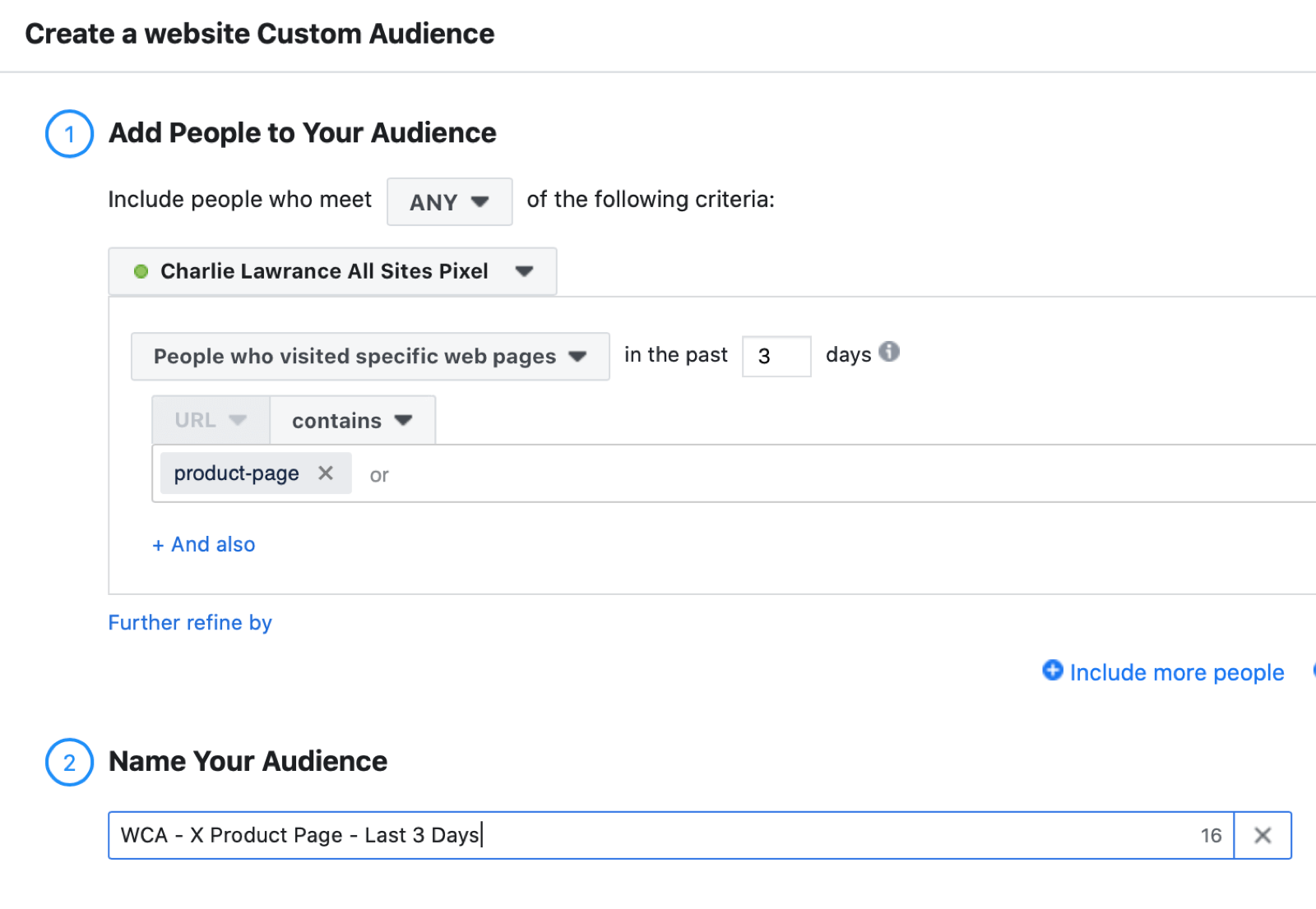 Facebook网站针对提醒广告的自定义受众设置