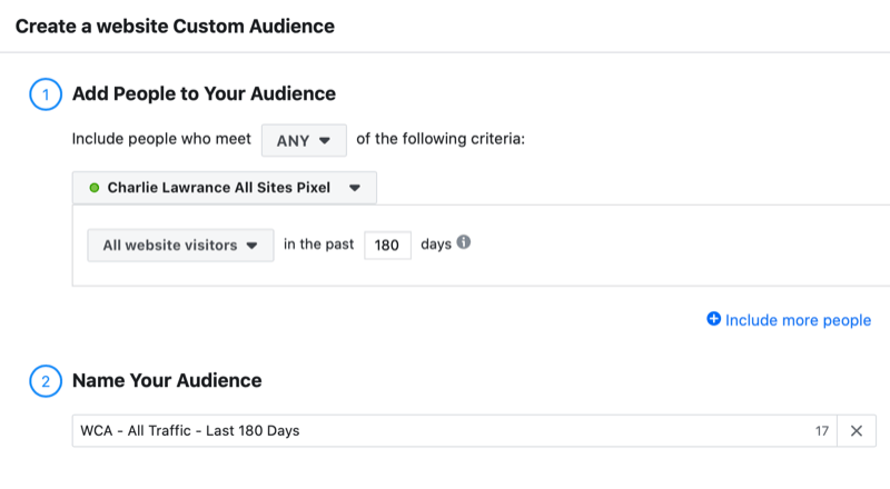 Facebook website custom audience setup for testimonial ad