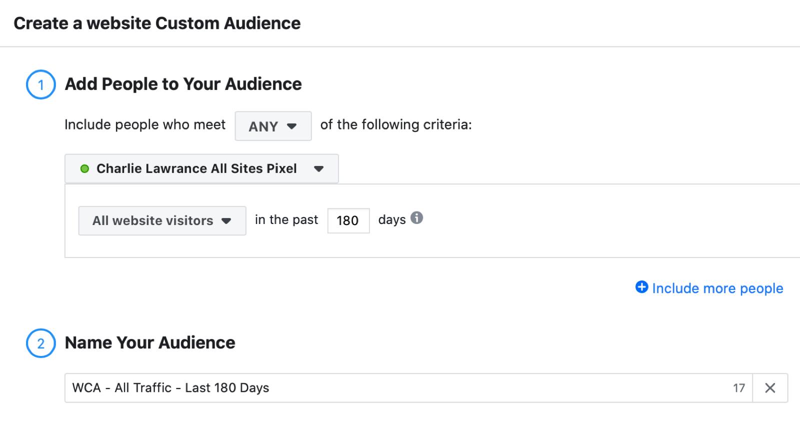Facebook网站针对推荐广告的自定义受众设置