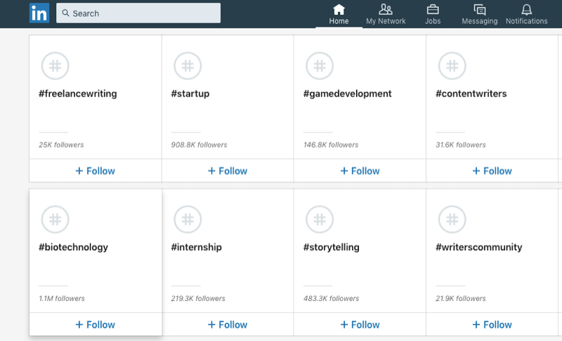 lijst met aanbevolen LinkedIn-hashtags om te volgen