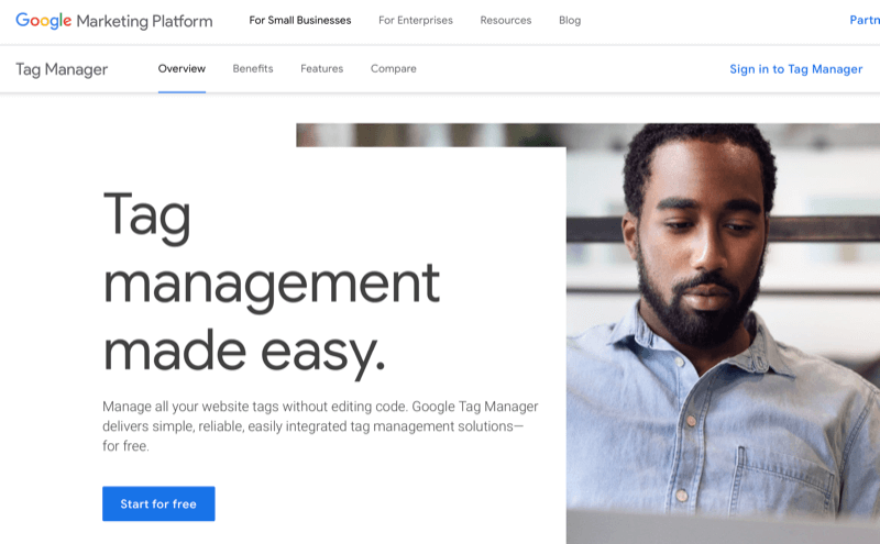 Google Tag Manager home page