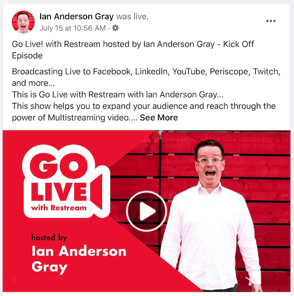 Facebook live video replay post for Ian Anderson Gray
