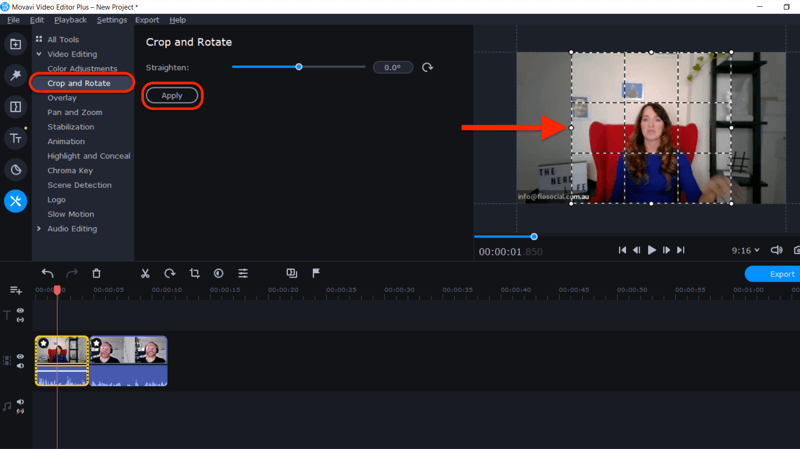 adjust selection handles to create square video in Movavi