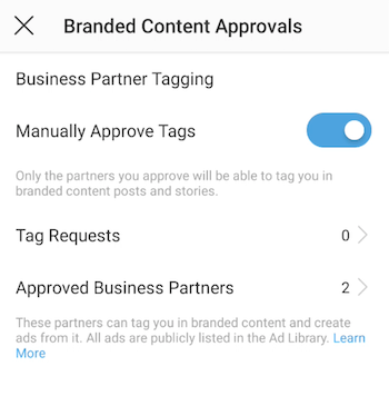 Branded Content Approvals screen