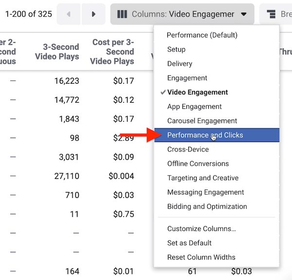 Performance and Clicks report data in Facebook Ads Manager
