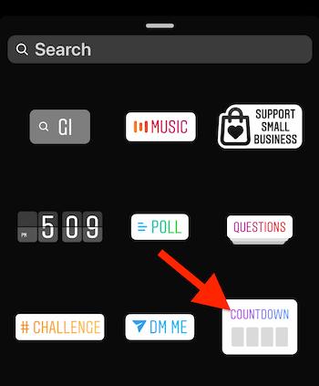 Instagram Countdown sticker in sticker tray