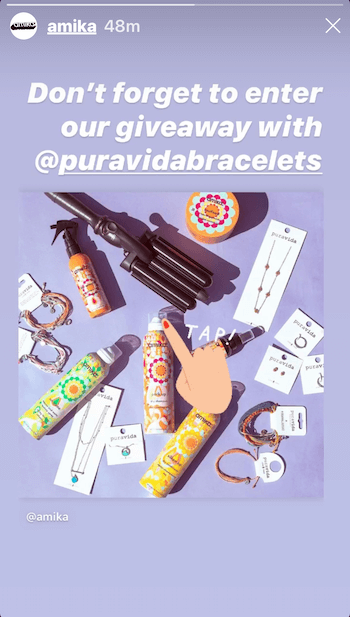 Instagram story with giveaway example