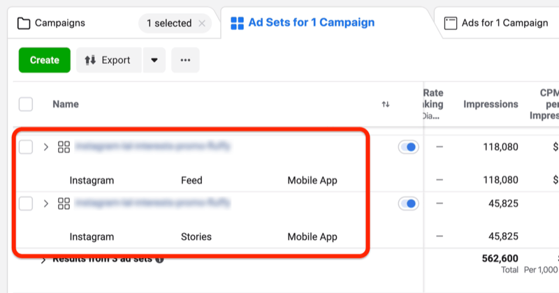 separate ad sets for Instagram Stories and Instagram Feed