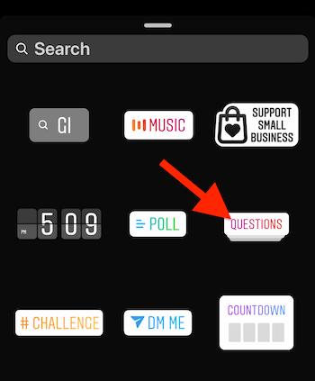 Instagram Questions sticker in sticker tray