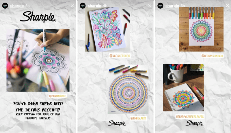 Sharpie Instagram story with user-generated content