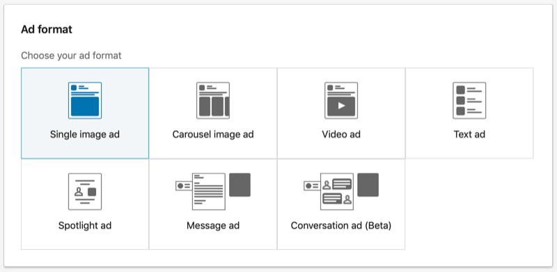 LinkedIn Single Image ad format option selected