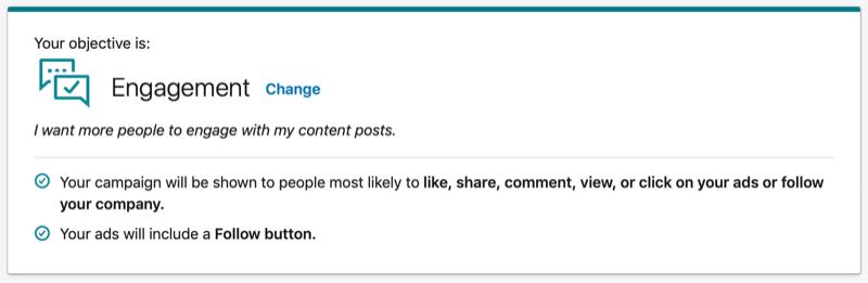 LinkedIn Engagement objective