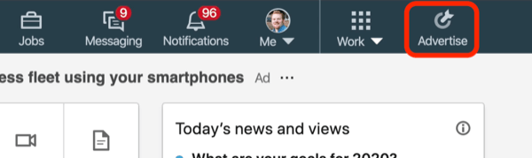 screenshot of Advertise button on LinkedIn