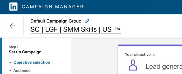 screenshot of LinkedIn campaign name edited to say 'SC | LGF | SMM Skills | US'